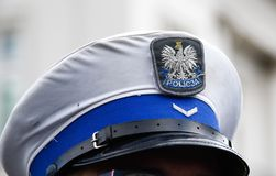 Police hat of polish officer. royalty free stock image