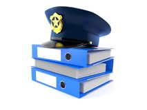 Police hat with ring binders Royalty Free Stock Photo