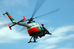 Police helicopter. A swat team at a helicopter royalty free stock photo