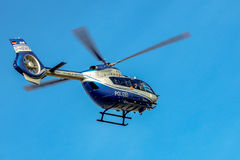 Police helicopter Airbus H-145 in mission royalty free stock images