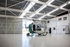 Police helicopter in the angar Stock Photos