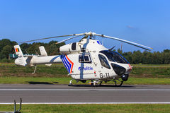 Police helicopter. A Belgian MD-900 police helicopter with NOTAR (No Tail Rotor) design royalty free stock photography