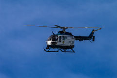 Police Helicopter Blue Sky Stock Images