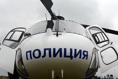 Police helicopter Eurocopter AS 355 at the airport. Stock Image