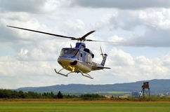 Police helicopter in flight Stock Photo
