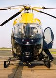 Police helicopter ob hospital landing pad Stock Photo