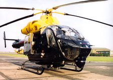 Police helicopter ob hospital landing pad Stock Photography