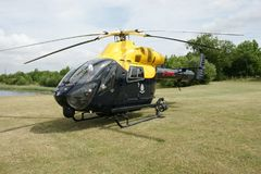 Police helicopter ob hospital landing pad Stock Images