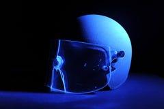 Police Helmet. Bullet through screen of a police helmet Stock Photo
