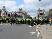 Police hold the line against Anti Fascists during during a BNP p Royalty Free Stock Photography