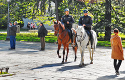 Police on horse near the  National Museum of the Prado Stock Images