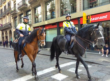 Police horse patrol Stock Images