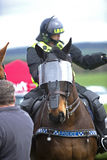 Police Horse. A shielded police horse patrols the crowd at the 2014 Heavy Horse Festival, Milfield, Wooler, Northumberland, England Stock Photo