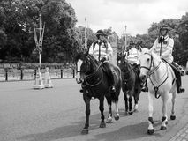 Police on horseback in London black and white Stock Photos