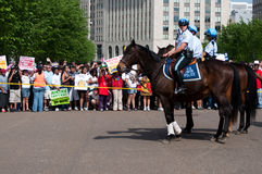 Police on Horseback at White House Royalty Free Stock Images
