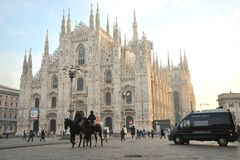 Police on horses at the Duomo ,  on the streets of Milan,  Italy Royalty Free Stock Photos