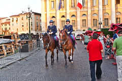 Police on horses are watching Royalty Free Stock Photo