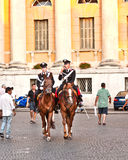 Police on horses are watching Stock Photo