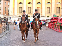 Police on horses are watching Royalty Free Stock Photography