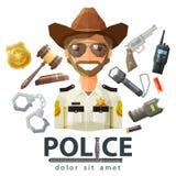 Police, icônes de loi ensemble d'éléments - marteau illustration stock