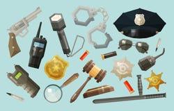 Police, icônes de sécurité réglées collection d'éléments illustration stock