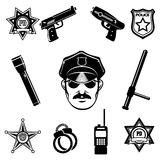 Police icon Set. Isolated on white background. Only free font used Royalty Free Stock Image