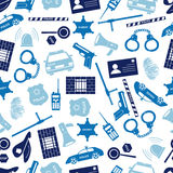 Police icons blue color seamless pattern. Eps10 Royalty Free Stock Photography