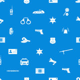 Police icons blue and white seamless pattern Royalty Free Stock Photography