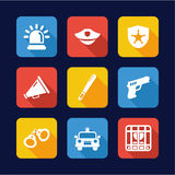 Police Icons Flat Design Royalty Free Stock Photos