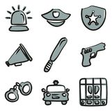 Police Icons Freehand 2 Color. This image is a illustration and can be scaled to any size without loss of resolution Royalty Free Stock Image