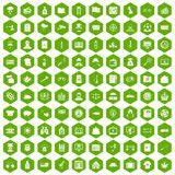 100 police icons hexagon green. 100 police icons set in green hexagon isolated vector illustration royalty free illustration