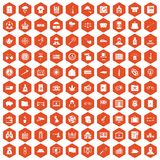 100 police icons hexagon orange. 100 police icons set in orange hexagon isolated vector illustration vector illustration