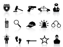 Police icons set. Isolated black police icons set from white background Royalty Free Stock Images