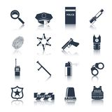 Police icons set black Stock Photos