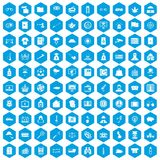 100 police icons set blue. 100 police icons set in blue hexagon isolated vector illustration vector illustration