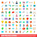 100 police icons set, cartoon style Stock Photography