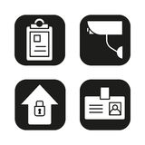 Police icons set. File, camera, home security, badge symbol. Vector white silhouettes illustrations in black squares. Royalty Free Stock Photo
