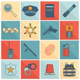 Police icons set flat line Stock Image