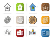 Police icons set. Flat, linear and color styles. Stock Image