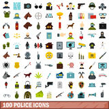 100 police icons set, flat style. 100 police icons set in flat style for any design vector illustration Royalty Free Stock Photo