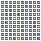 100 police icons set grunge sapphire. 100 police icons set in grunge style sapphire color isolated on white background vector illustration Stock Photos