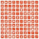 100 police icons set grunge orange. 100 police icons set in grunge style orange color isolated on white background vector illustration Royalty Free Stock Image