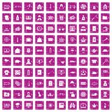 100 police icons set grunge pink. 100 police icons set in grunge style pink color isolated on white background vector illustration Stock Image