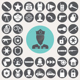 Police icons set. Royalty Free Stock Photos