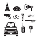Police Icons Set, Monochrome Stock Photos