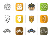 Police icons set. Officer, badge, car symbol. Stock Images