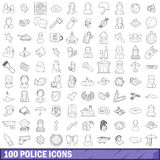 100 police icons set, outline style. 100 police icons set in outline style for any design vector illustration Stock Photo