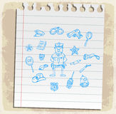 Police icons set  on paper note, vector illustration Royalty Free Stock Image