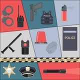 Police icons set. Police protect and serve special forces icons set  vector illustration Stock Photography