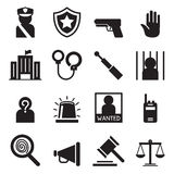 Police icons set Silhouette Stock Photos